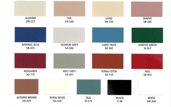 Color Charts General Powder Coated Standard Colors
