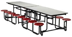 "Cafeteria Tables KI Folding Cafeteria Table w/stools 30"" x 120"""