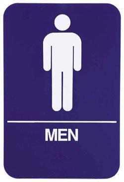 """Restroom Signs Men 6"""" x 9"""" sign, Blue"""