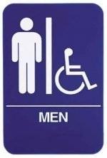 "Restroom Signs ADA Men 6"" x 9"" sign, Blue"