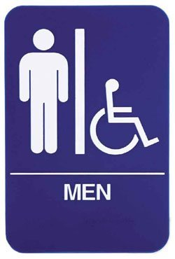 "Restroom Signs ADA Men 6"" x 9"" sign, Blue"