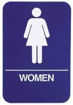 "Restroom Signs Women 6"" x 9"" sign, Blue"