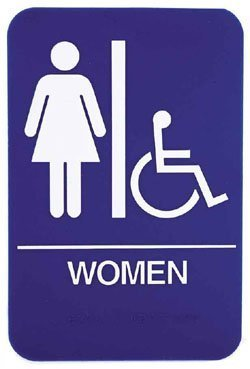 "Restroom Signs ADA Women 6"" x 9"" sign, Blue"