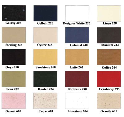 Color Charts General Solid Plastic Colors