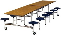 """Cafeteria Tables Virco Folding Cafeteria Table w/stools 29""""h x 30""""w x 10'l"""