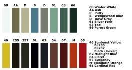 Locker Color Charts Lyon Color Chart