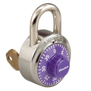 Padlocks Key control combo lock purple dial